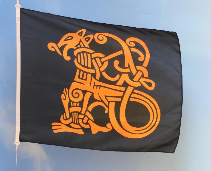 Tofargers silketrykket flagg