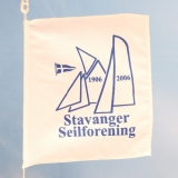 Lite silketrykket flagg (en farge) med innsydd line