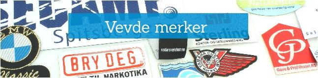 Vevde selvklebende stoff-merker med logo