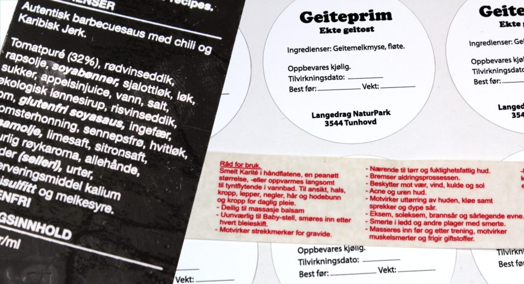 Ingredientsmerking, innholdsmerking varedeklarasjoner og allergenmerking