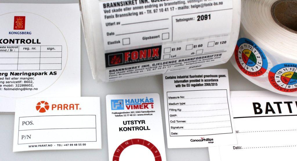 Kontrollmerker, dokumentasjon, årsoblater og andre vinylmerker til å skrive på.
