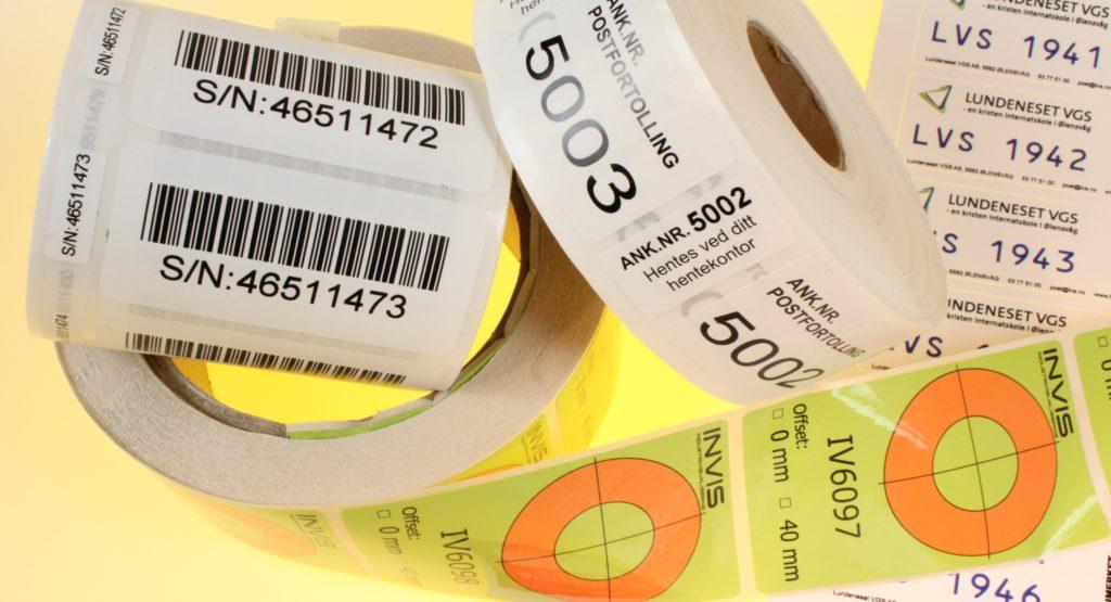 klistremerke og etiketter med nummerering