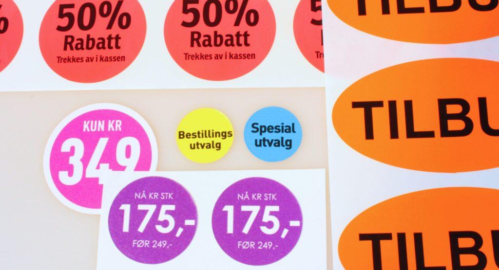 Eksempler på salgsetiketter, prisetiketter og tilbudsetiketter fra Tonjer Media